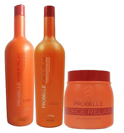 Probelle Force Relax Kit Litro Reconstrução Profissional  (3 Itens)