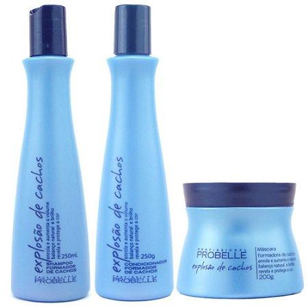 Probelle Explosão de Cachos Kit Shampoo + Condic + Mascara 200g