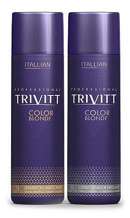 Itallian Trivitt Kit Matizador Shampoo + Condic Color Blonde -2x1Litro