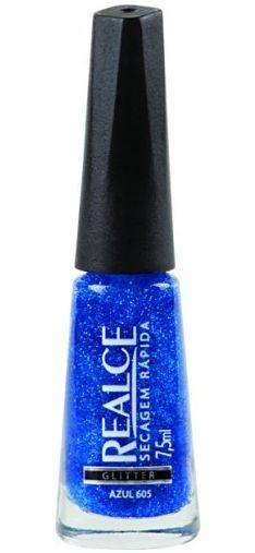 Realce Glitter Azul 605 Esmalte de Secagem Rápida