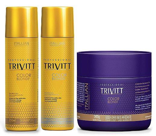 Itallian Trivitt Kit Color Blonde + Geléia Dark Blue Matizante 500g