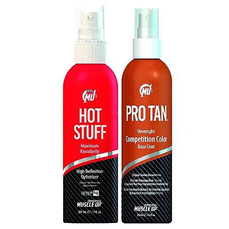1 Pro Tan Competition Color 8.5oz (250ml) + 1 HOT STUFF - Vasodilatação e Definição Máxima Instantânea 118ml