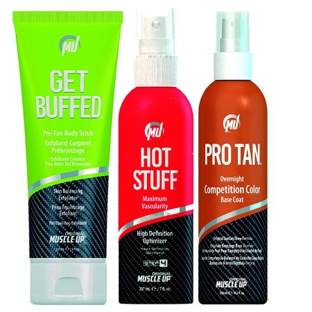 1 Pro Tan Competition Color + 1 HOT STUFF + 1 Get Buffed Creme Depilador