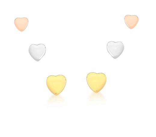 Trio de Brincos banhado ouro 18k Coração