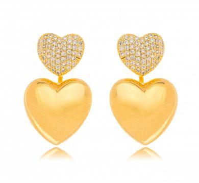 Brinco Banhado ouro 18k Coração Ear Jacket Micro Zircônia