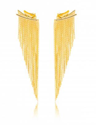 Brinco Banhado ouro 18k Ear Jacket Franja