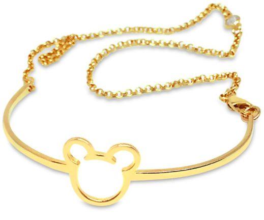 Pulseira Folheda Ouro 18K Bracelete Mickey Com Correntinha