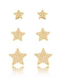 Brinco Trio Banhado Ouro 18K Estrela Cravejado