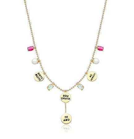 Colar Banhado Ouro 18K Gravatinha Ho' Oponopono Com Cristal Colorido