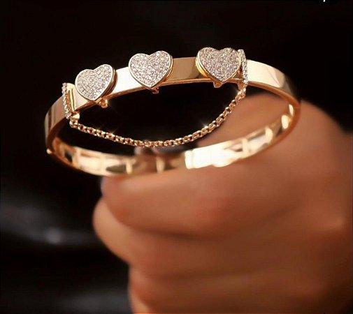Bracelete  Banhado Ouro 18K  3 Corações