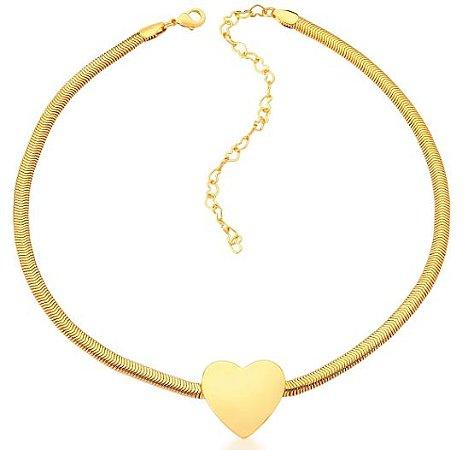 Choker Banhado Ouro 18K Coração