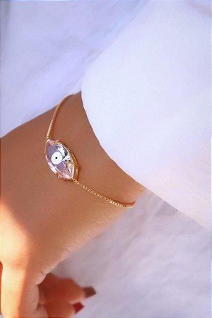 Pulseira banhada ouro 18k Cristal  Rosa