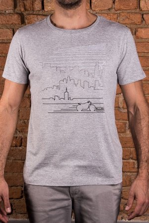Camiseta Skyline SP Mescla Cinza