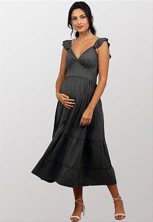 Vestido Gestante Midi Vivian Cinza