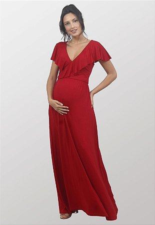 Vestido Vermelho Gestante Amamentação Donna