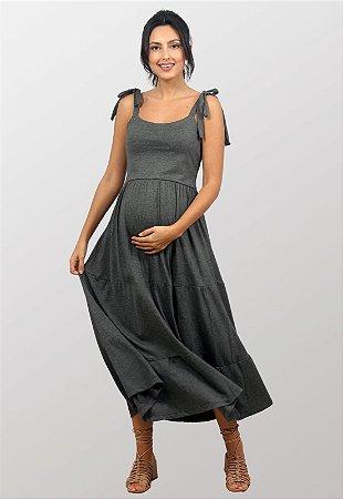 Vestido Gestante Midi Duna Cinza