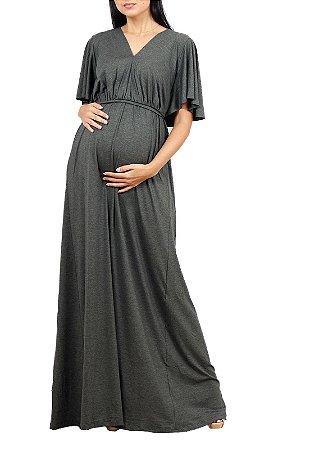 Vestido Longo Gestante Com Mangas Cinza