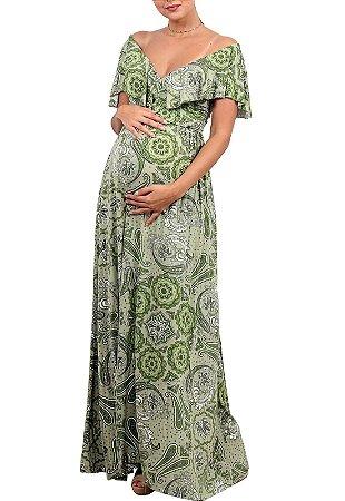 Vestido Gestante Estampado Longo Verde