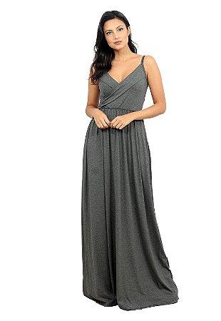 Vestido Longo De Alcinha Cinza