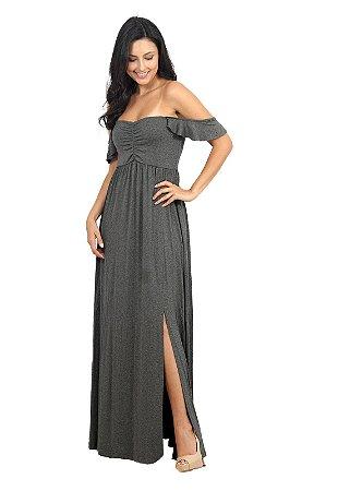 Vestido Longo Com Fenda Cinza