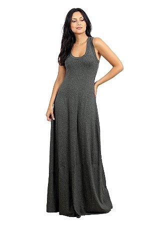 Vestido Longo Simples Cinza