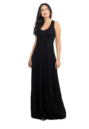 Vestido Longo Simples Preto