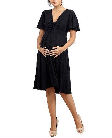 Vestido Gestante Amamentação Curto Preto