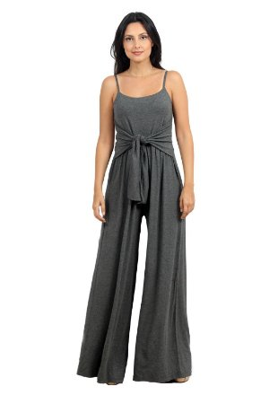 Macacão Longo Pantalona Alça Cinza
