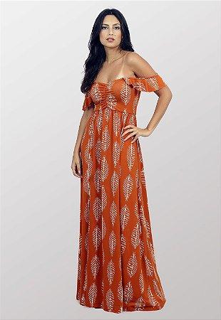 Vestido Longo Estampado Com Fenda Terracota