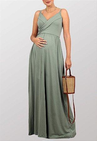 Vestido Longo Gestante Amamentação Alcinhas Verde