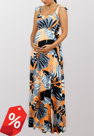Vestido Gestante Estampado Com Fenda Tropicana