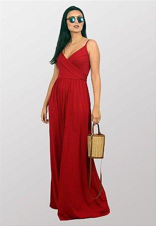 Vestido Longo Transpassado Alcinhas Vermelho