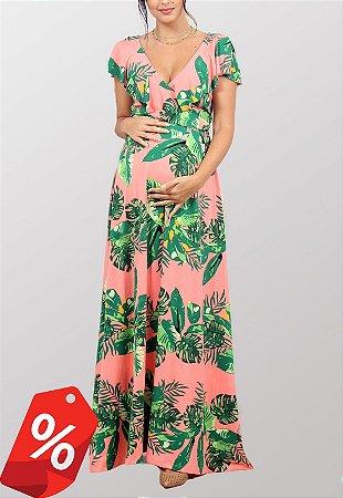 Vestido Gestante Estampado Amamentação Rosa