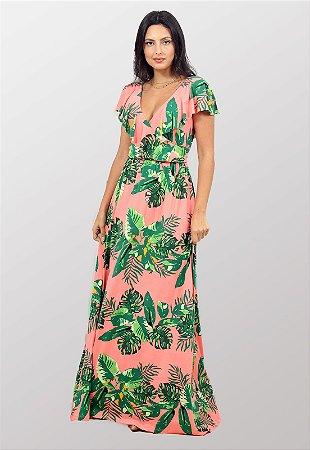 Vestido Longo Estampado Rosa