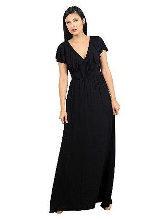 Vestido Longo Preto Transpassado