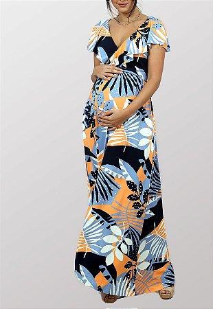 Vestido Gestante Estampado Amamentação Tropicana Donna