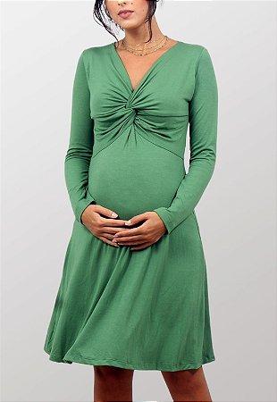 Vestido Curto Gestante Verde Rodado Ingrid