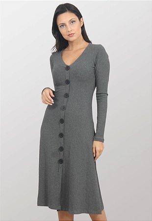 Vestido Midi Canelado Hera Cinza