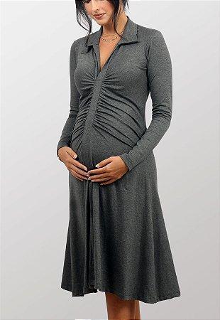 Vestido Gestante Midi Topazio Cinza