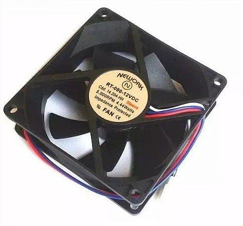 Cooler 12v Nework Rt-080 14.204hh 80x80x25mm 5000 RPM - 802512B - 3 FIOS C/ CONECTOR