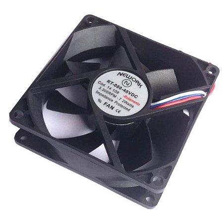 Cooler Nework 48V RT-080 14.108 80X80X25mm ROLAMENTOAmp.: 0,04 RPM 3300 3 FIOS S/ CONECTOR 802548R