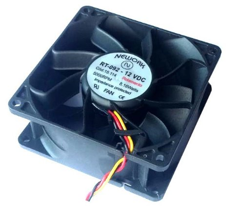 Cooler Nework 12v RT-092 15.114 92X92X38mm ROLAMENTO Amp.: 0,90 RPM 5000 3 FIOS C/ CONECTOR - 923812R