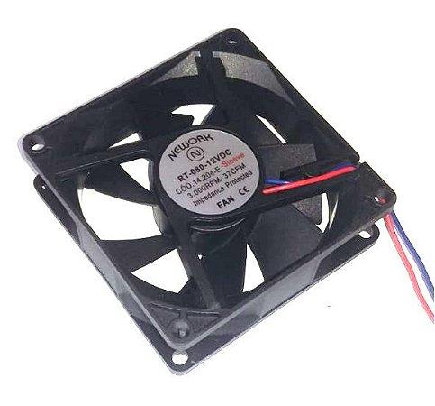 Cooler Nework 12V RT-080 14.204E 80X80X25mm BUCHA Amp.: 0,18 RPM: 3000 2 FIOS C/ CONECTOR - 802512B