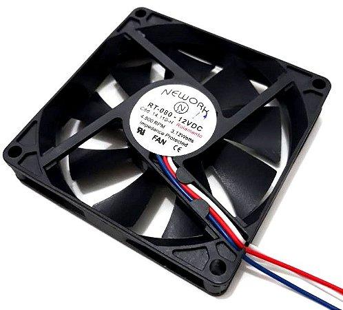 Cooler Nework 12V RT-080 14.110-H 80X80X15mm ROLAMENTO Amp.: 0,35 RPM: 3500 3 FIOS C/ CONECTOR - 801512R