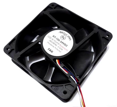 Cooler Nework 24v Rt-120 120x120x38mm Rolamento 3800rpm 16112HR 4 Fios S/ Conector - 1203824R