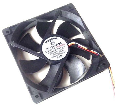 Cooler Nework 12V RT-120 16.102 120X120X25mm ROLAMENTO Amp.:0,24 RPM: 2400 4 FIOS S/ CONECTOR 1202512R