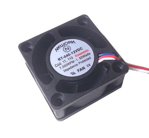 Cooler Nework 12V RT-040 11.110 40X40X20mm ROLAMENTOAmp.: 0,16 RPM: 7000 3 FIOS S/ CONECTOR - 402012R