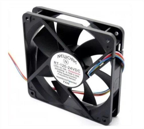 Cooler Nework 24V RT-120 16.108 120X120X25mm ROLAMENTO Amp.:	0,24 RPM: 3000 4 FIOS S/ CONECTOR - 1202524R