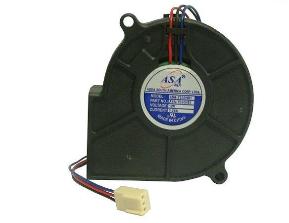 MINIVENTILADOR 12V ASA7530HB1 BLOWER - 75x75x30mm ROLAMENTO - 3 FIOS - 0,26Amp - 0750A