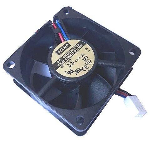 COOLER 60X60X25 - 12V - ROLAMENTO 0.18 AMP - 2.76 WATTS - 4500 RPM - 23,34 CFM 33.8 DB(A) - BERFLO - AD06012HB257600
